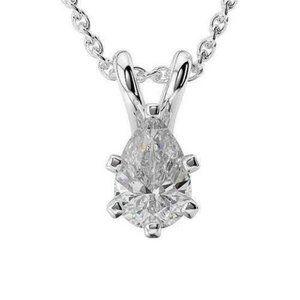 Jewelry - 2.00 Carats Pear Cut Diamond Solitaire Pendant Sol